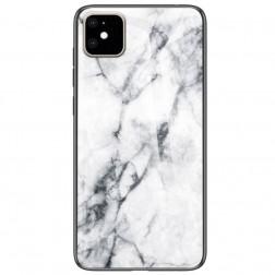 """Marble"" cieta silikona (TPU) apvalks - balts (iPhone 11)"