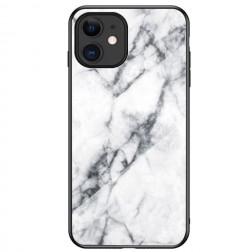 """Marble"" cieta silikona (TPU) apvalks - balts  (iPhone 12 Mini)"