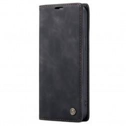 """""""CaseMe"""" Retro solīds atvēramais ādas maciņš - melns (iPhone 12 Mini)"""