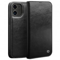 """""""QIALINO"""" atvēramais ādas maciņš - melns (iPhone 12 Mini)"""