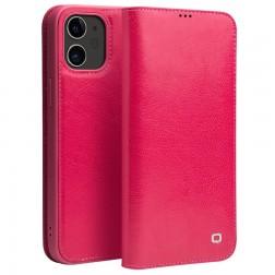 """""""QIALINO"""" atvēramais ādas maciņš - rozs (iPhone 12 Mini)"""