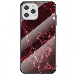 """Marble"" cieta silikona (TPU) apvalks - melns / sarkans (iPhone 12 / 12 Pro)"