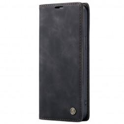 """""""CaseMe"""" Retro solīds atvēramais ādas maciņš - melns (iPhone 12 Pro Max)"""