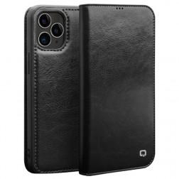 """""""QIALINO"""" atvēramais ādas maciņš - melns (iPhone 12 / 12 Pro)"""