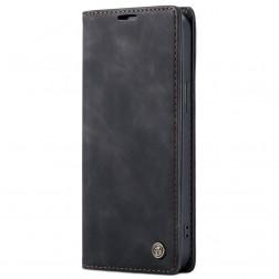 """""""CaseMe"""" Retro solīds atvēramais ādas maciņš - melns (iPhone 12 / 12 Pro)"""