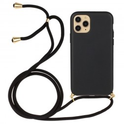"""Strap"" cieta silikona (TPU) apvalks - melns (iPhone 12 / 12 Pro)"