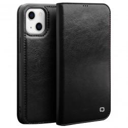 """""""QIALINO"""" atvēramais ādas maciņš - melns (iPhone 13 Mini)"""