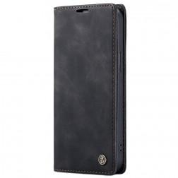 """""""CaseMe"""" Retro solīds atvēramais ādas maciņš - melns (iPhone 13 Pro Max)"""