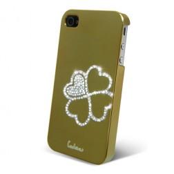 """Leshine"" apvalks - sirsniņas, zelta (iPhone 4 / 4S)"
