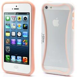 """i-Glow"" rāmis (bamperis) - balts / rozs (iPhone 5 / 5S)"