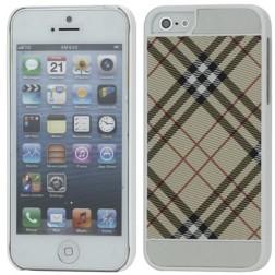 """Burberry"" stila apvalks - gaiši brūns / balts (iPhone 5 / 5S)"