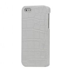 Telefona apvalks ar krokodila ādas imitāciju - balts (iPhone 5 / 5S)