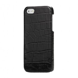 Telefona apvalks ar krokodila ādas imitāciju - melns (iPhone 5 / 5S)