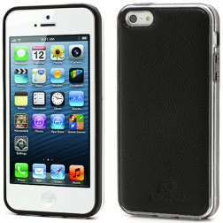 """Kingpad"" Leather apvalks - melns (iPhone 5 / 5S)"