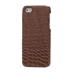 Telefona apvalks ar krokodila ādas imitāciju - brūns (iPhone 5 / 5S)