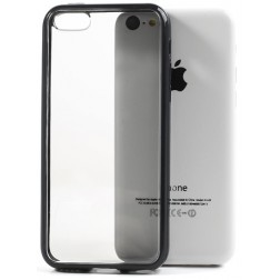 Plastmasas apvalks ar sānu apmale - dzidrs / melns (iPhone 5C)