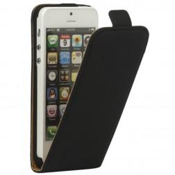 Klasisks vertikāli atvēramais maciņš - melns (iPhone 5 / 5S)