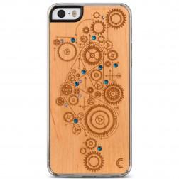 """Crafted Cover"" dabīga koka apvalks - Mehānisms ar kristāliem (iPhone 5 / 5s)"
