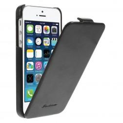 Vertikāli atvēramais klasisks maciņš - melns (iPhone 5 / 5s)