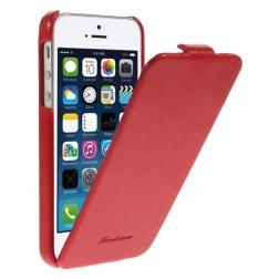 Vertikāli atvēramais klasisks maciņš - sarkans (iPhone 5 / 5s)