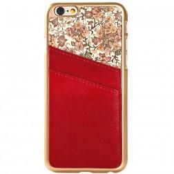 Puķains apvalks ar iebūvētu karšu turētāju - sarkans (iPhone 6 / 6s)
