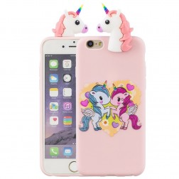 """Squezy"" Two Unicorns cieta silikona (TPU) apvalks - rozs (iPhone 6 / 6s)"