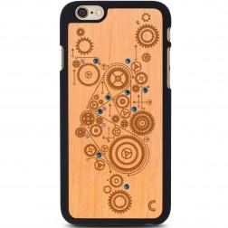 """Crafted Cover"" dabīga koka apvalks - Mehānisms ar kristāliem (iPhone 6 / 6s)"
