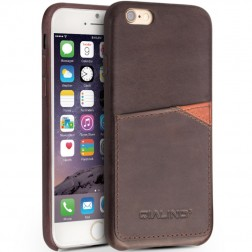 """QIALINO"" Leather ādas apvalks - tumši brūns (iPhone 6 / 6s)"
