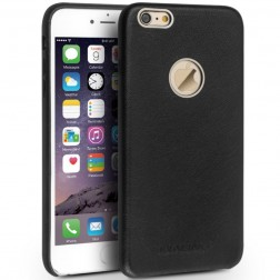 """QIALINO"" Slim Leather ādas apvalks - melns (iPhone 6 / 6s)"