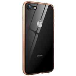 """""""Frame"""" magnētiskais pilnīgi aizsedzams apvalks - dzidrs, zelta (iPhone 7 / 8 / SE 2020)"""