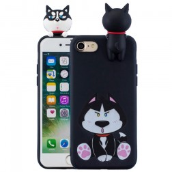"""""""Squezy"""" Dog cieta silikona (TPU) apvalks - melns (iPhone 7 / 8 / SE 2020)"""