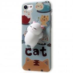 """Squezy"" Cat cieta silikona (TPU) apvalks - zils (iPhone 7 / 8)"