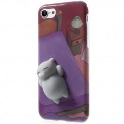 """Squezy"" Cat cieta silikona (TPU) apvalks - violeta (iPhone 7 / 8)"