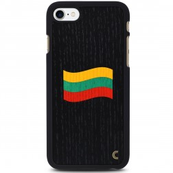 """Crafted Cover"" dabīga koka melns apvalks - Lietuvas karogs (iPhone 7 / 8)"
