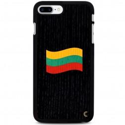 """""""Crafted Cover"""" dabīga koka melns apvalks - Lietuvas karogs (iPhone 7 Plus / 8 Plus)"""