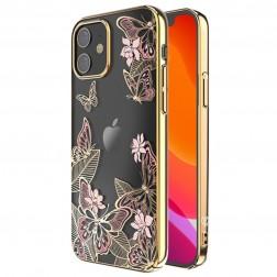 """Kingxbar"" Butterflies Swarovski apvalks - zelta (iPhone 12 Mini)"