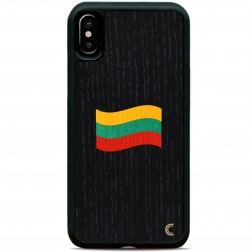 """Crafted Cover"" dabīga koka melns apvalks - Lietuvas karogs (iPhone X / Xs)"