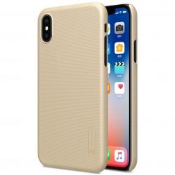 """Nillkin"" Frosted Shield apvalks - zelta + ekrāna aizsargplēve (iPhone X / Xs)"
