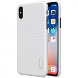 """Nillkin"" Frosted Shield apvalks - balts + ekrāna aizsargplēve (iPhone X / Xs)"