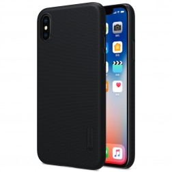 """Nillkin"" Frosted Shield apvalks - melns + ekrāna aizsargplēve (iPhone X)"