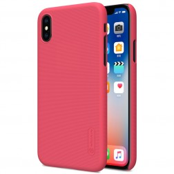 """Nillkin"" Frosted Shield apvalks - sarkans + ekrāna aizsargplēve (iPhone X / Xs)"