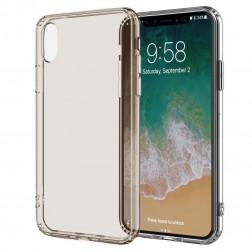 Cieta silikona (TPU) dzidrs apvalks - gaiši brūns (iPhone X / Xs)