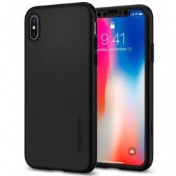 """Spigen"" Thin Fit 360 futrālis - melns + ekrāna aizsargstikls (iPhone X / Xs)"