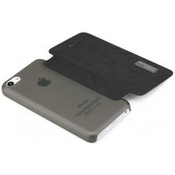 """""""ROCK"""" Elegant atvēramais futrālis - melns (iPhone 5C)"""