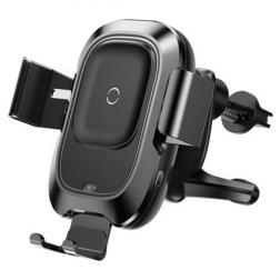 """""""Baseus"""" Air Vent automašīnas telefona turētājs / lādētājs (restēm) - melns"""
