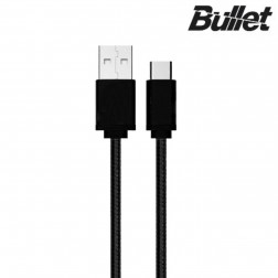 """Bullet"" Nylon micro USB vads - melns (1 m.)"