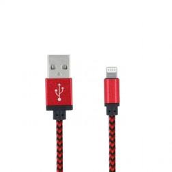"""""""Forever"""" Nylon Lightning USB vads - sarkans (1 m.)"""