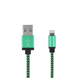 """Forever"" Nylon Lightning USB vads - zaļš (1 m.)"