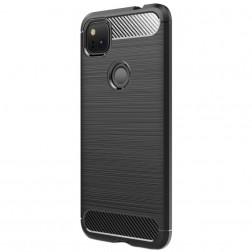 """""""Carbon"""" cieta silikona (TPU) apvalks - melns (Pixel 4A)"""