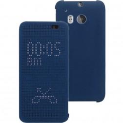 """Atvērams """"Dot View"""" maciņš - zils (One M8 / One M8s)"""